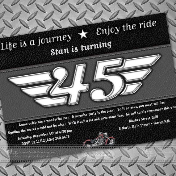 birthday party invitations, surprise party invitations, retirement party invitations, Harley Davidson party invitations, IN657