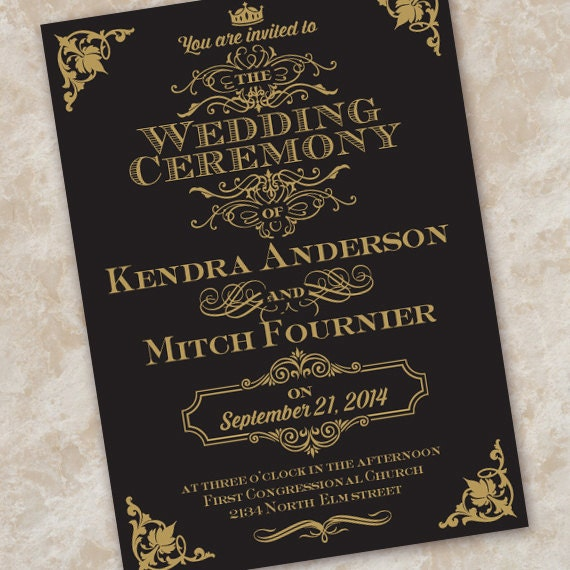 wedding invitations, black and gold wedding invitation, formal wedding invitations, wedding invitation package, wedding package, IN337