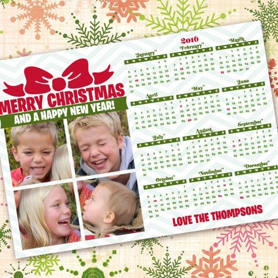 green chevron, calendar Christmas card, calendar holiday greetings, chevron calendar, chevron Merry Christmas photo card, IN420