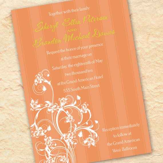 wedding invitations, tangerine wedding invitations, wedding package, orange bridal shower invitations, peach bridal shower invitation