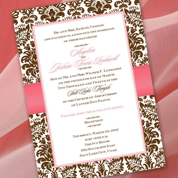 wedding invitations, coral and chocolate wedding invitations, wedding package, bridal shower invitations, coral retirement party invitations