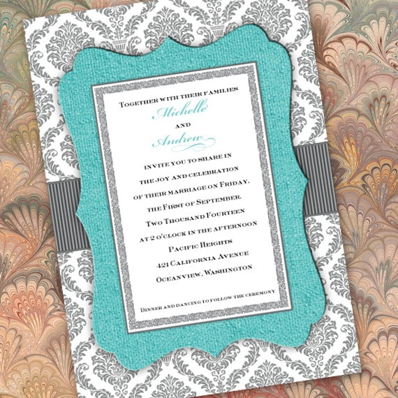wedding invitations, turquoise wedding invitations, bridal shower invitations, wedding shower invitations, wedding package, IN284