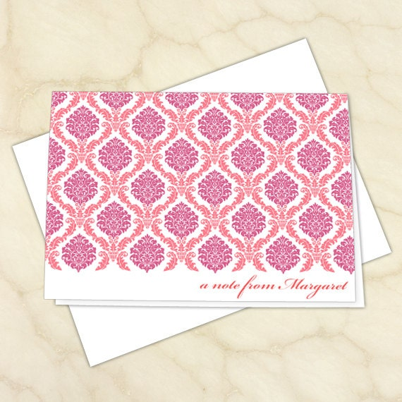 personalized notecards, fuchsia thank you cards, hot pink thank you notes, baby girl TY cards, 4.25x6 notecards, teacher appreciation, NC135