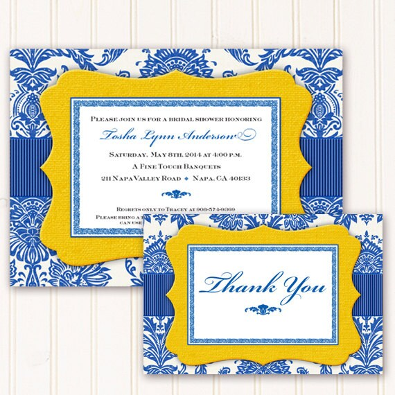 bridal shower invitations, bridal shower thank you cards, cobalt bridal shower invitations, cobalt wedding invitations, shower invites IN261