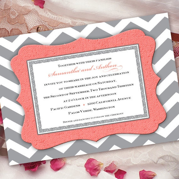 wedding invitations, coral wedding invitations, chevron wedding invitations, bridal shower invitations, wedding package, IN259