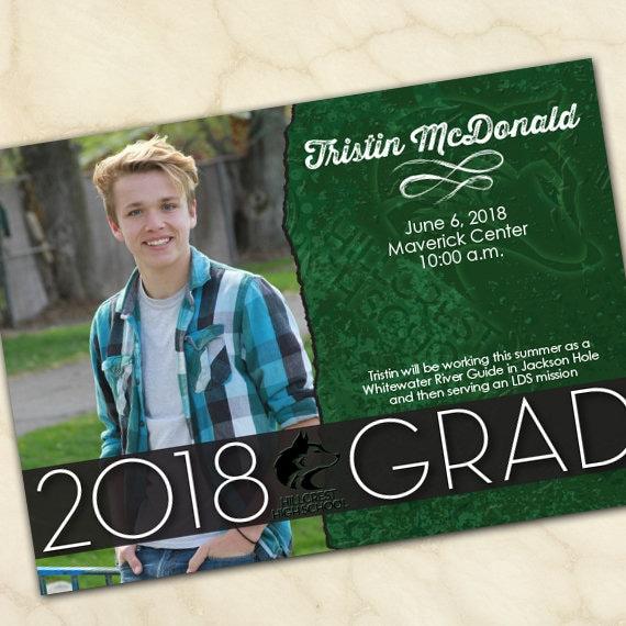graduation invitations, green graduation invitations, college graduation announcements, doctorate graduation, graduation photo, IN571