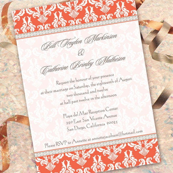 wedding invitations, wedding package, tangerine wedding invitations, tangerine bridal shower invitations, graduation invitations, IN153_1