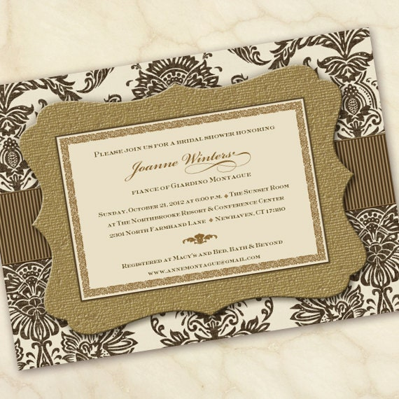 bridal shower invitations, gold wedding shower invitations, gold bridal shower invitations, golden anniversary invitations, IN165