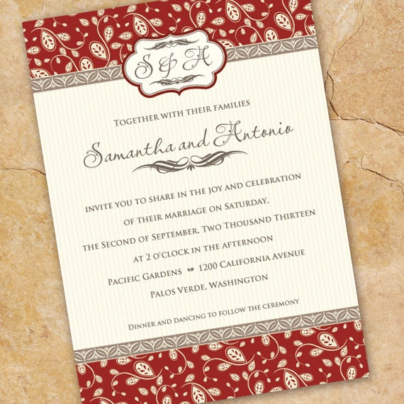 wedding invitations, ruby wedding invitations, wedding package, ruby bridal shower invitations, wedding package, IN220
