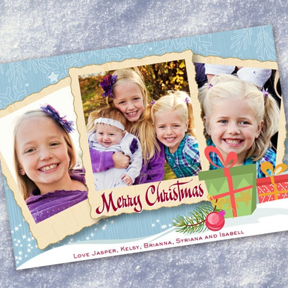 Christmas cards, Christmas presents photo card, illustrated Christmas card, packages and snow photo Christmas card, holiday card, CC043B