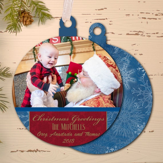 photo Christmas card, custom shape Christmas card, cut out holiday card, Happy New Year, photo holiday card, die cut Christmas card, PO010