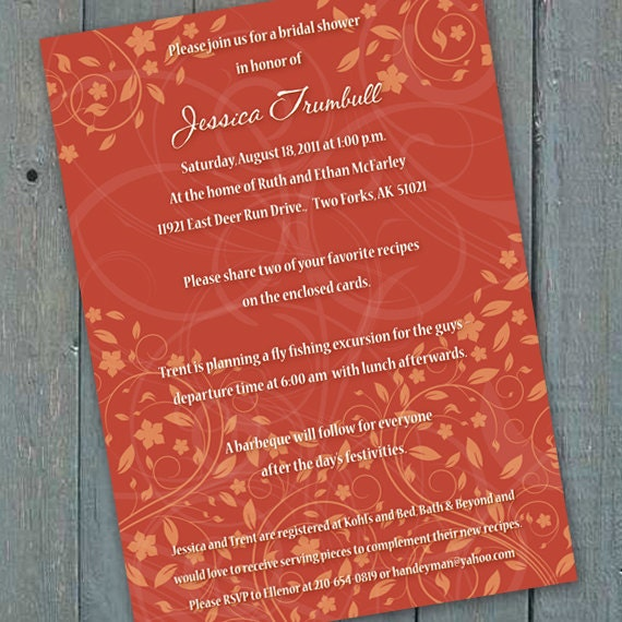 bridal shower invitations, pumpkin bridal shower invitations, recipe cards, tangerine wedding invitations, pumpkin wedding shower