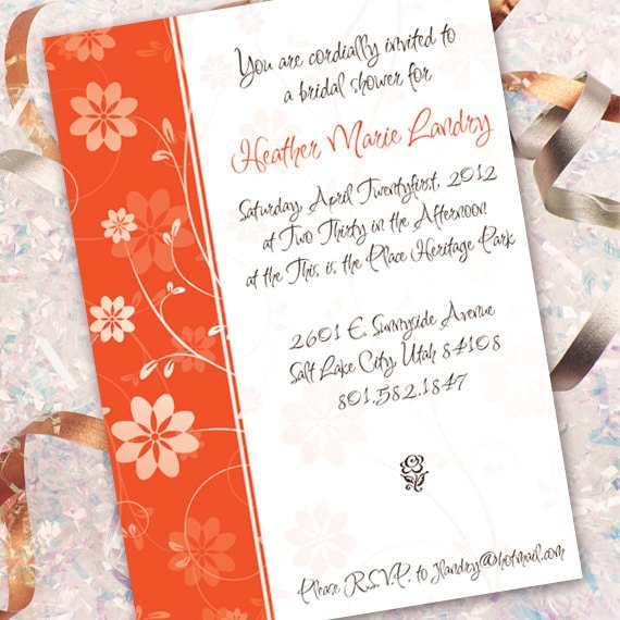 bridal shower invitations, orange wedding shower, birthday party invitations, sweet sixteen party invitations, bachelorette party, IN148