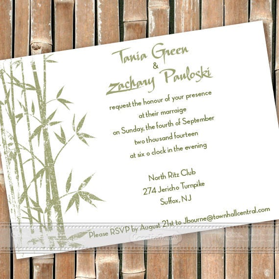 wedding invitations, Asian wedding invitations, sage and white wedding, bamboo party invitation, sage bamboo shower, wedding package, IN603