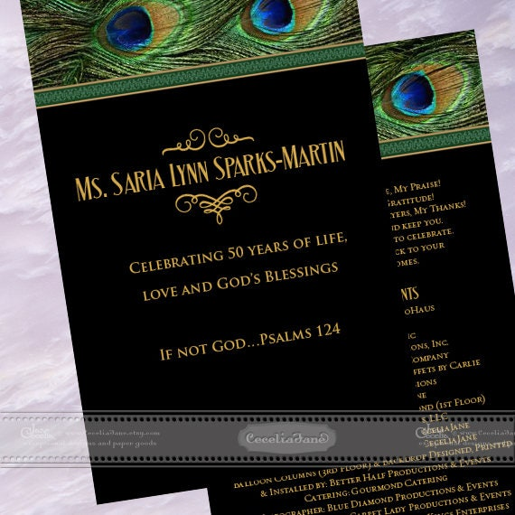 program covers, peacock program covers, 50th birthday party program, wedding program cover, birthday party program, wedding package, IN605
