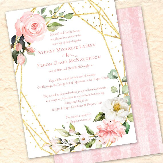 wedding invitations, rose gold wedding, blush rose wedding invitations, blush pink rose wedding invitations, geometric invitations, IN698