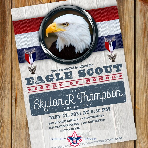 Eagle Scout Court of Honor invitations, single sided invitation, Boy Scouts of America, BSA0701