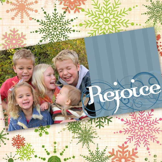 Christmas cards, Rejoice photo card, blue striped Christmas card, country blue Christmas, 4x8 photo card, CC010