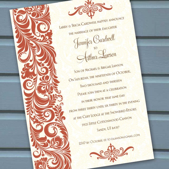 wedding invitations, rust wedding invitations,  wedding shower invitations, birthday party invitations, wedding package, IN240