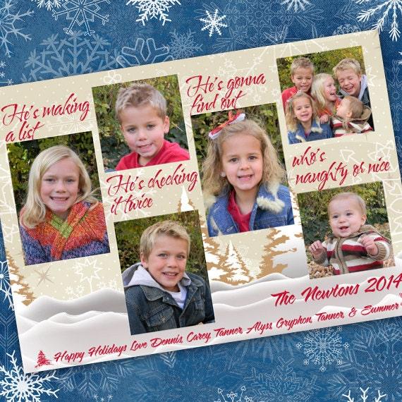Christmas cards, Makin' a List Christmas card, naughty or nice photo card, 6 photo card, winter greetings, snowflake Christmas card, CC079