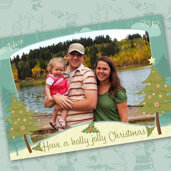 Christmas cards, holly jolly Christmas card, Christmas tree card, outdoors Christmas, cabin Christmas, outdoor Christmas, CC012