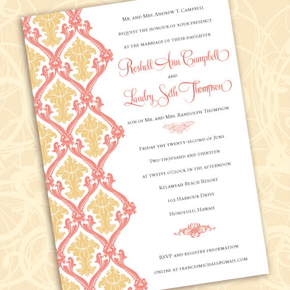 wedding invitations, coral wedding invitations, bridal shower invitations, coral bridal shower invitations, wedding package, IN505