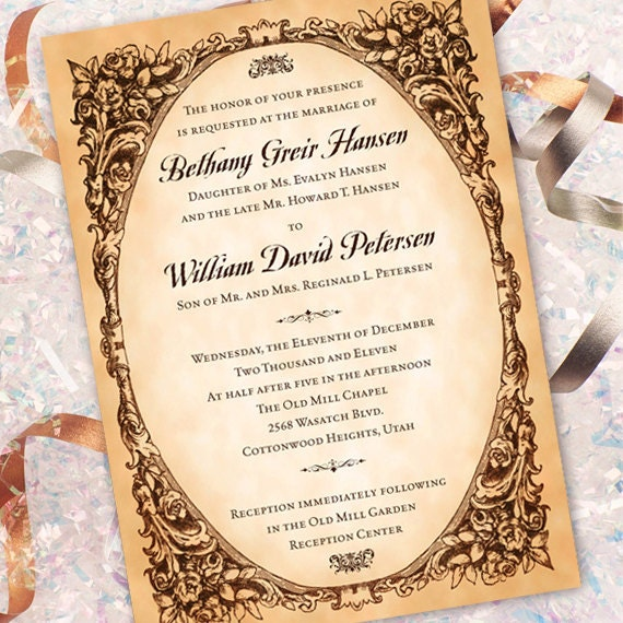 wedding invitations, vintage wedding invitations, classic wedding announcements, old world wedding invitations, wedding package,