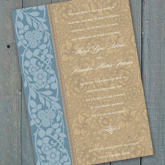 wedding invitations, spring wedding invitations, country blue wedding invitations, blue bridal shower, wedding package, IN151_3