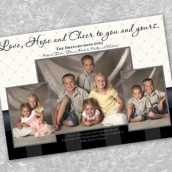 Christmas cards, gold snowflake Christmas card, black and gold Christmas card, snowflake photo card, black and white Christmas card, CC061