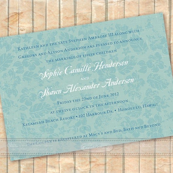 wedding invitations, destination wedding, wedding package, aqua bridal shower invitations, Caribbean wedding, wedding package, IN201
