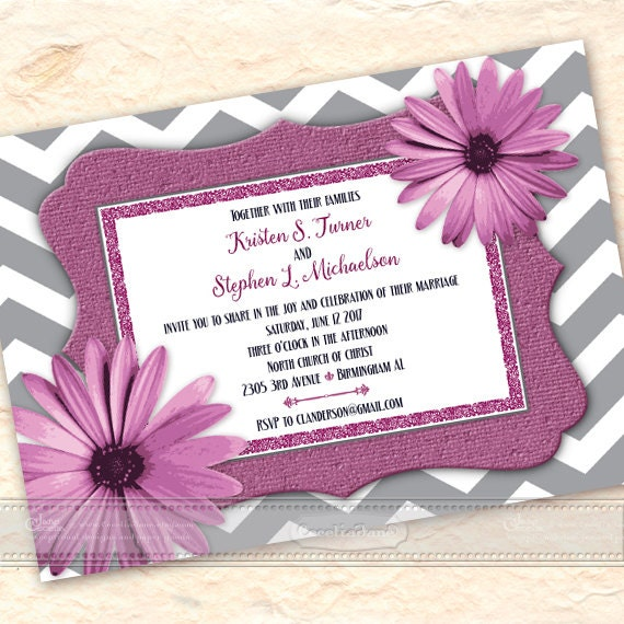 wedding invitations, gerber daisy wedding invitations, bridal shower invitations, chevron wedding invitations, wedding package, IN541