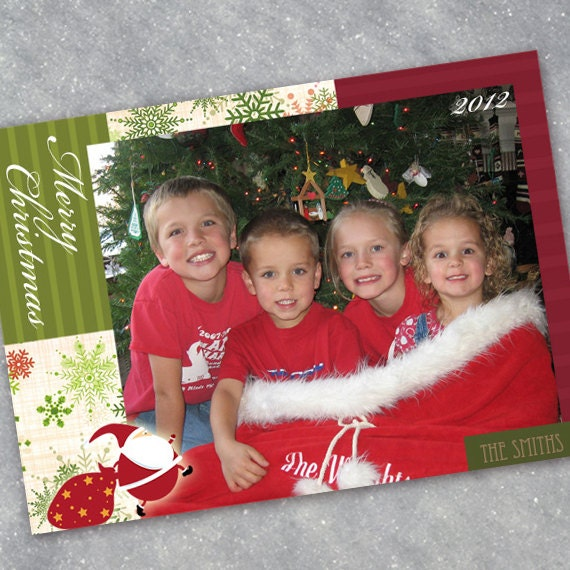 Christmas cards, Santa sack Christmas card, snowflake Christmas card, lime green Christmas, winter snowflakes, cranberry holiday card, CC009