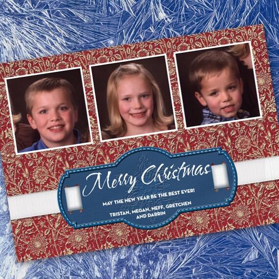Christmas cards, red damask Christmas card, snowflake holiday card, 3 photo Christmas card, red white and blue Christmas, CC052