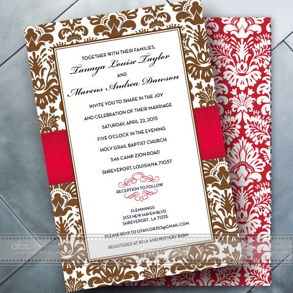 wedding invitations, chocolate wedding invitations, red wedding invitations, bridal shower invitations, red bride, wedding package, IN352