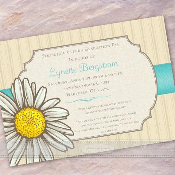 bridal shower invitations, daisy bridal shower invitations, turquoise bridal shower invitations, graduation invitations, grad party, IN368