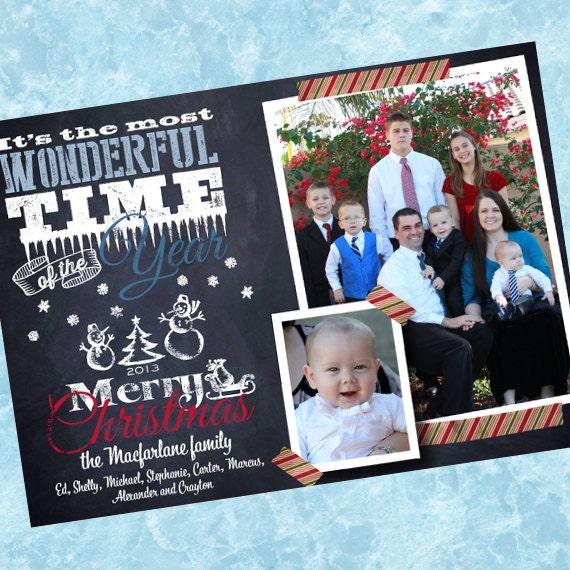 Christmas cards, chalkboard snowman Christmas card, washi tape Christmas card, chalkboard Christmas card, Happy New Year card, CC252