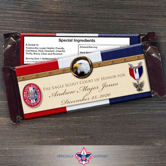 Eagle Scout candy bar wrappers, Eagle Scout Court of Honor, Hersheys chocolate bar wrappers, Court of Honor, BSA0404