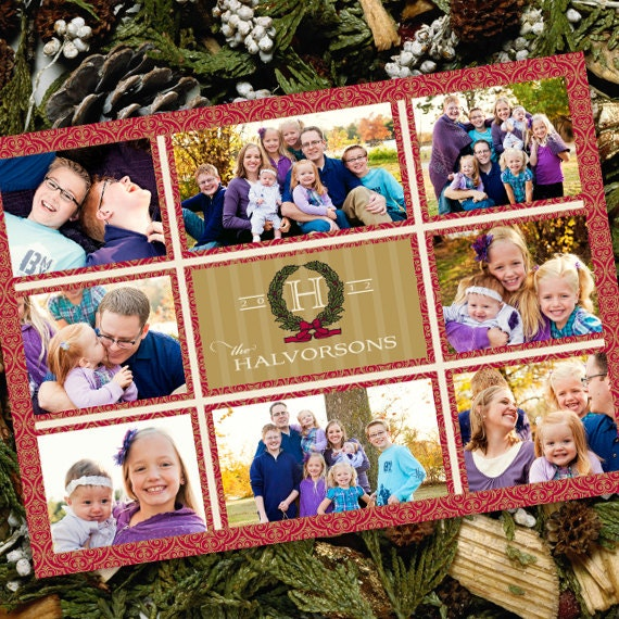 Christmas cards, red damask Christmas card, red and gold card, monogram Christmas card, 8 photo Christmas card, family Christmas card, CC054