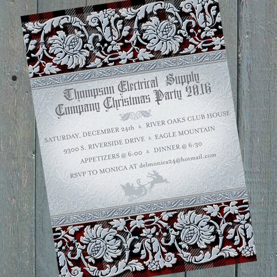 Christmas party invitations, silver Christmas party invitations, red plaid Christmas party invitations, silver and red Christmas, CC097