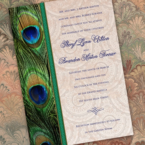 wedding invitations, peacock wedding invitations, peacock bridal shower invitations, peacock graduation invites, wedding package, IN260