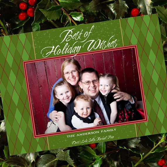 Christmas cards, holiday cards, green argyle photo Christmas card, evergreen argyle holiday card, lime Christmas, avocado Christmas, CC023