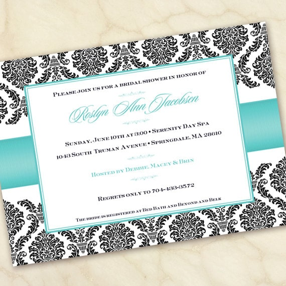 bridal shower invitations, turquoise bridal shower invitations, wedding shower, bridal shower package, turquoise bridal shower, IN158