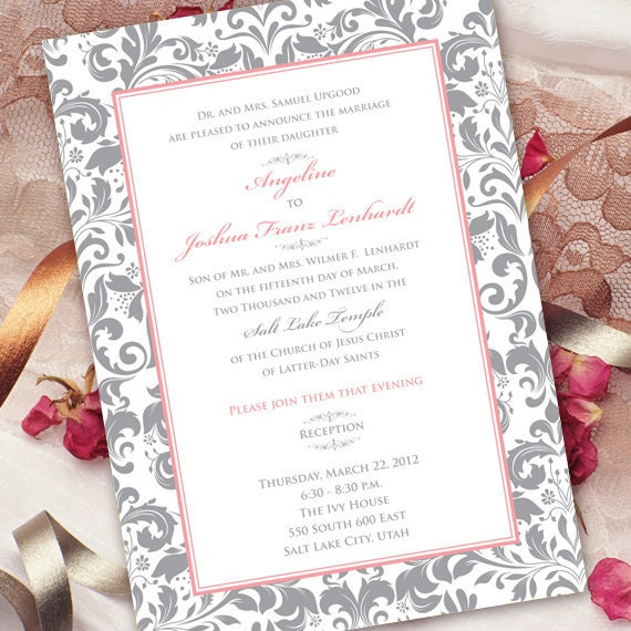 wedding invitations, rose quartz wedding invitations, rose quartz bridal shower invitations, wedding package