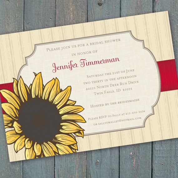 bridal shower invitations, sunflower bridal shower invitations, 16th birthday party, sunflower invitations, sunflower birthday party, IN203