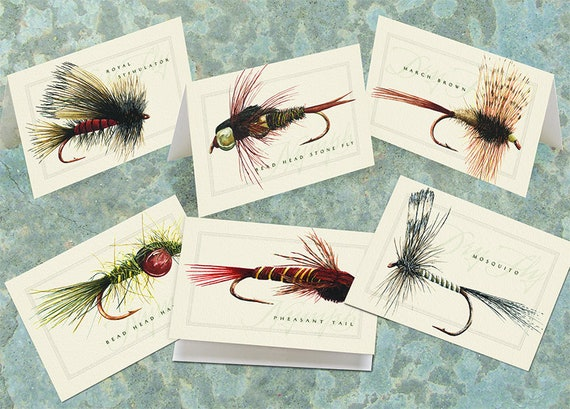 thank you cards, best man gifts, outdoors cards, fly fishing notecard set, fly fishing thank you cards, fly fisherman gift, fathers day gift