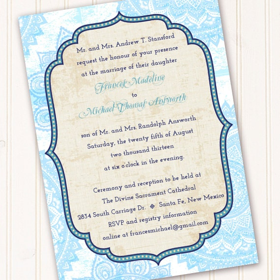 wedding invitations, Moroccan invitations, turquoise wedding invitations, graduation invitations, wedding package, IN213