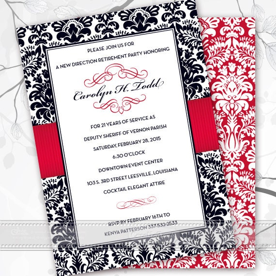 retirement party invitations, retirement package, wedding invitations, bridal shower invitations, crimson wedding invitations, IN402