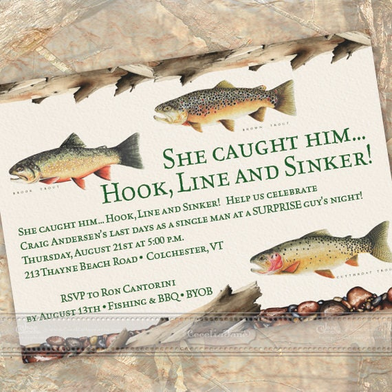 bachelor party, surprise bachelor party, bridal shower invitations, fly fishing bridal shower, outdoor wedding, fly fishing birthday, IN617