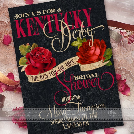 bridal shower invitations, Kentucky Derby bridal shower invitation, rose bridal shower invitation, Kentucky Derby wedding invitation, IN531