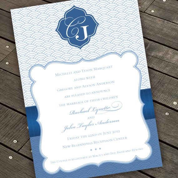 wedding invitations, bridal shower invitations, sodalite invitations, cobalt monogram invitations, wedding package, IN286.2